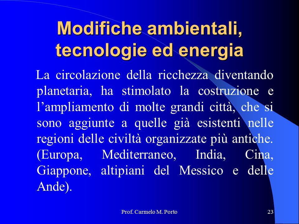 Prof. Carmelo M. Porto23 Modifiche ambientali, tecnologie ed energia La circolazione della ricchezza diventando planetaria, ha stimolato la costruzion