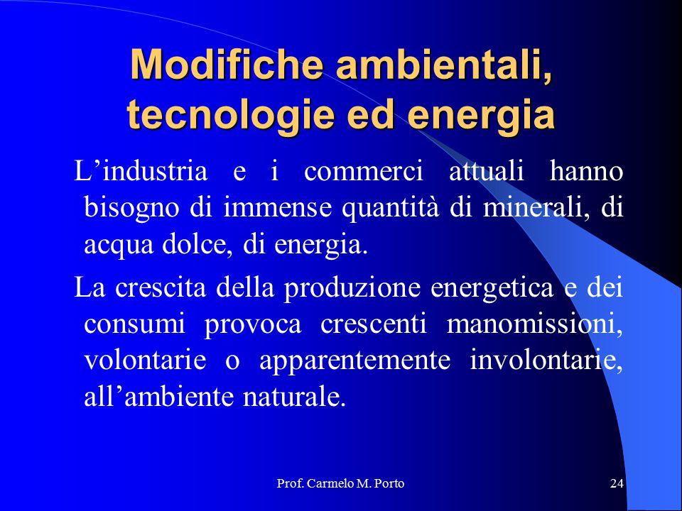 Prof. Carmelo M. Porto24 Modifiche ambientali, tecnologie ed energia L'industria e i commerci attuali hanno bisogno di immense quantità di minerali, d