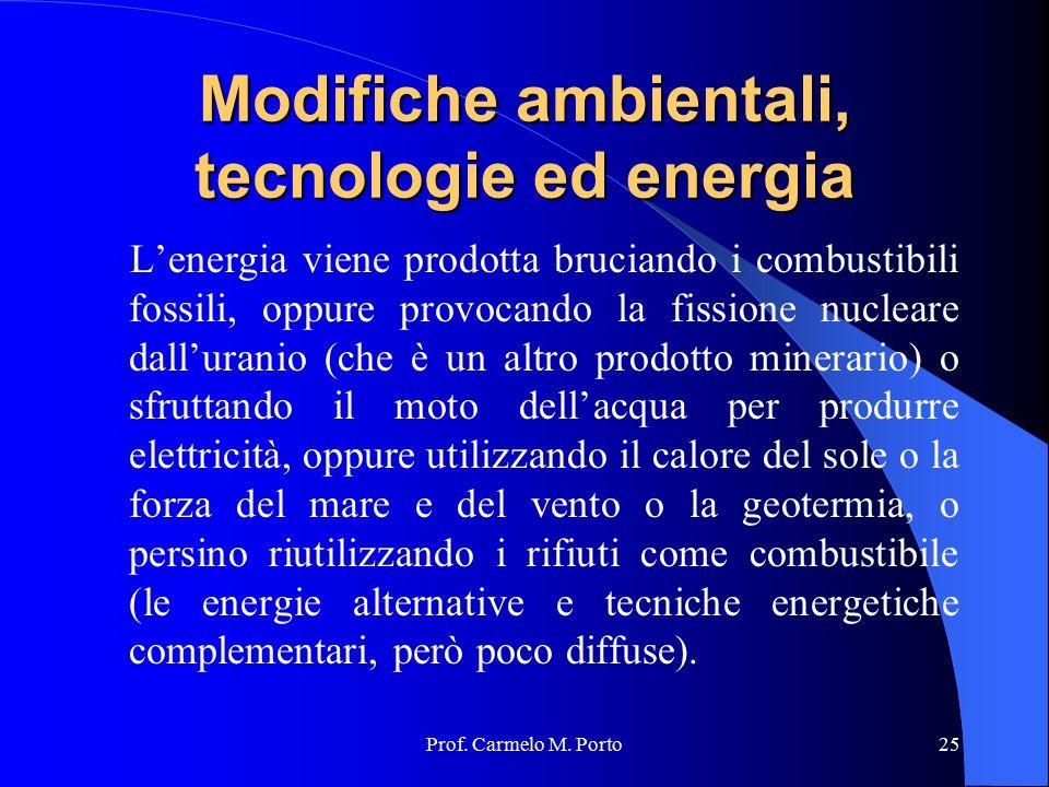 Prof. Carmelo M. Porto25 Modifiche ambientali, tecnologie ed energia L'energia viene prodotta bruciando i combustibili fossili, oppure provocando la f