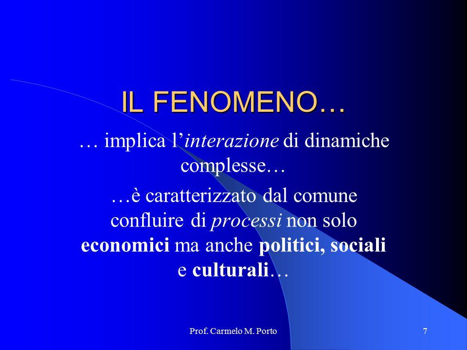 Prof. Carmelo M. Porto7 IL FENOMENO… … implica l'interazione di dinamiche complesse… …è caratterizzato dal comune confluire di processi non solo econo