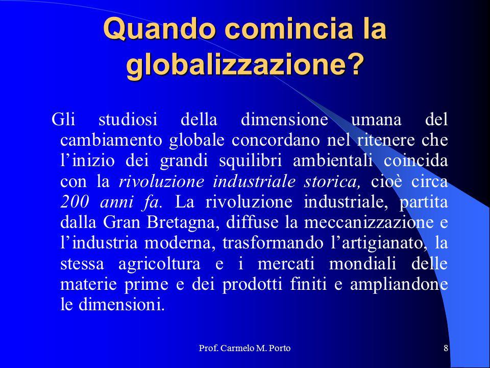 Prof. Carmelo M. Porto8 Quando comincia la globalizzazione? Gli studiosi della dimensione umana del cambiamento globale concordano nel ritenere che l'