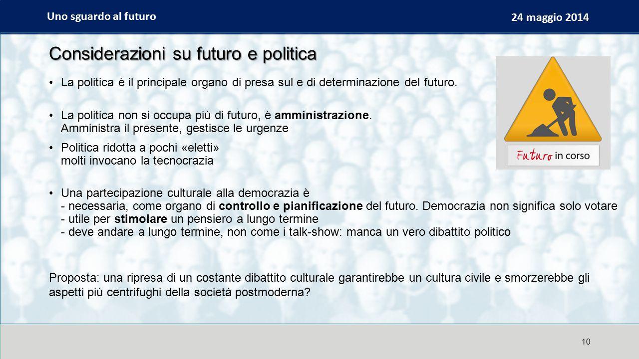 Uno sguardo al futuro 24 maggio 2014 Considerazioni su futuro e politica La politica è il principale organo di presa sul e di determinazione del futuro.