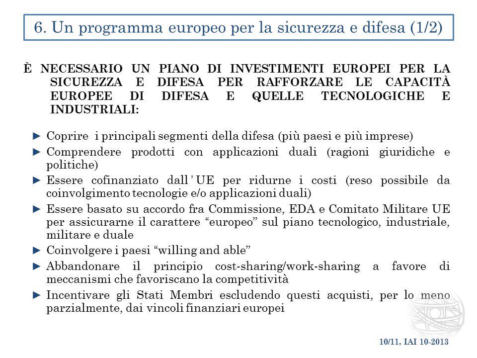 È NECESSARIO UN PIANO DI INVESTIMENTI EUROPEI PER LA SICUREZZA E DIFESA PER RAFFORZARE LE CAPACITÀ EUROPEE DI DIFESA E QUELLE TECNOLOGICHE E INDUSTRIA