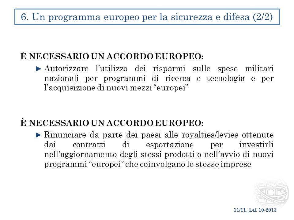 È NECESSARIO UN ACCORDO EUROPEO: ► Autorizzare l'utilizzo dei risparmi sulle spese militari nazionali per programmi di ricerca e tecnologia e per l'ac