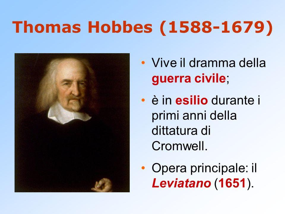 Thomas Hobbes (1588-1679) Vive il dramma della guerra civile; è in esilio durante i primi anni della dittatura di Cromwell. Opera principale: il Levia