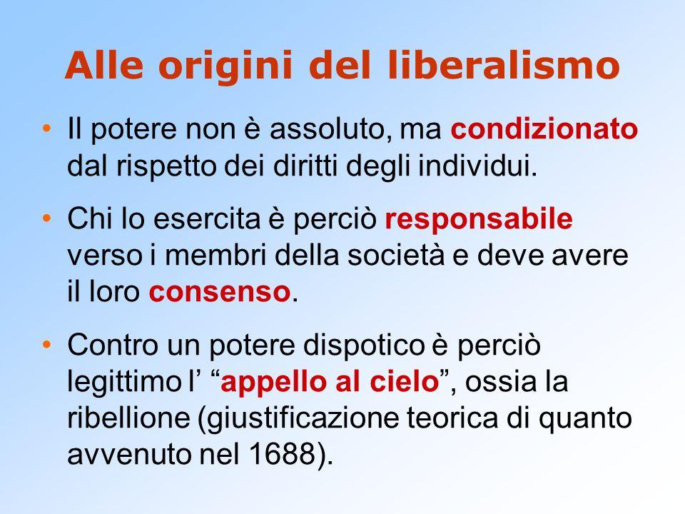 Alle origini del liberalismo Il potere non è assoluto, ma condizionato dal rispetto dei diritti degli individui. Chi lo esercita è perciò responsabile