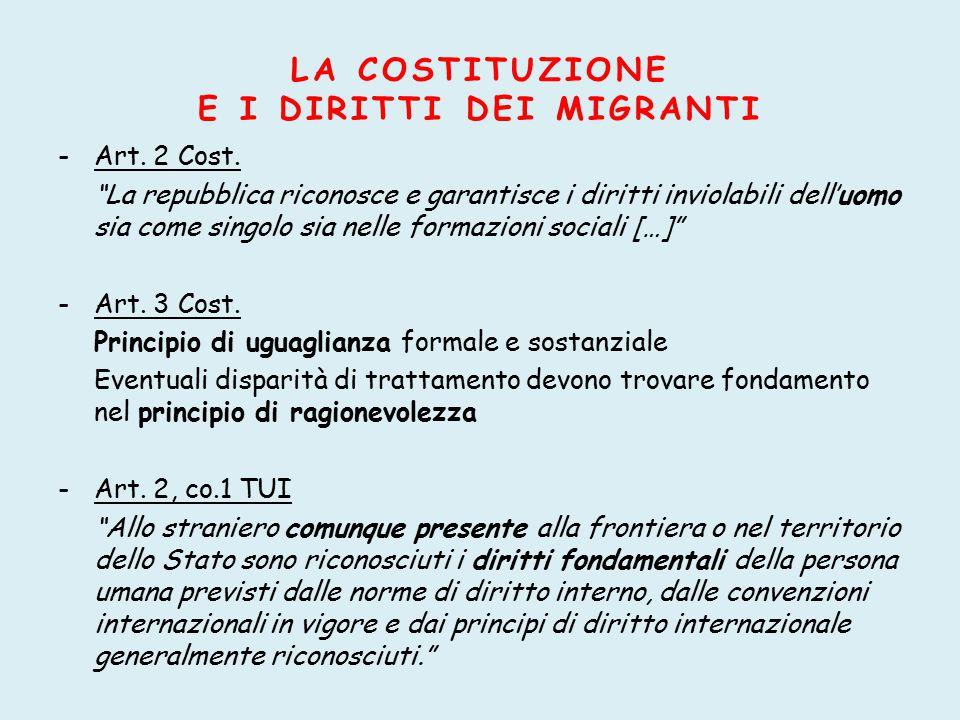 I DIRITTI COSTITUZIONALI VIOLATI Art.10 Cost. Diritto d'asilo Art.
