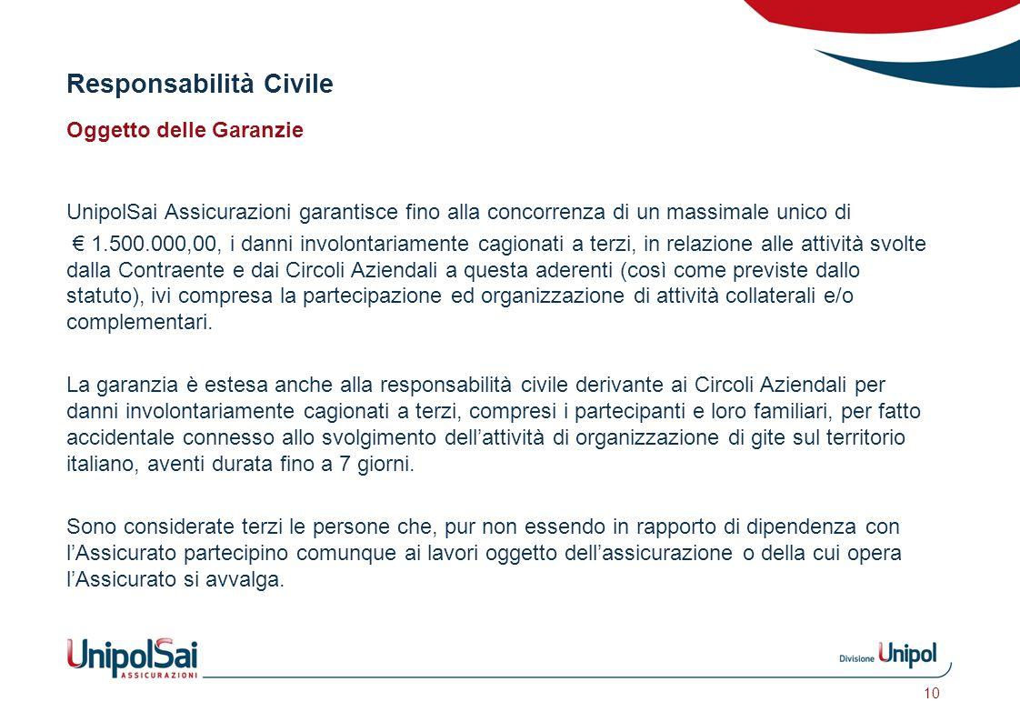 Responsabilità Civile Oggetto delle Garanzie UnipolSai Assicurazioni garantisce fino alla concorrenza di un massimale unico di € 1.500.000,00, i danni