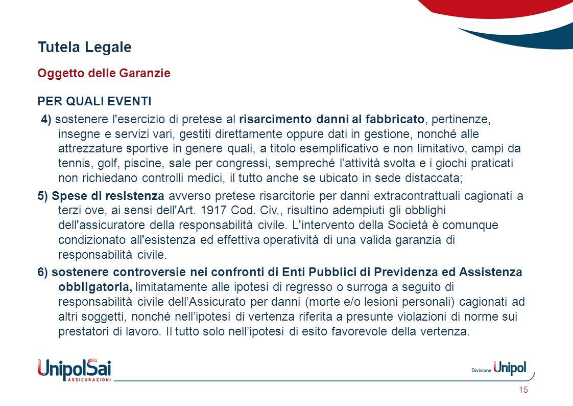 Tutela Legale Oggetto delle Garanzie PER QUALI EVENTI 4) sostenere l'esercizio di pretese al risarcimento danni al fabbricato, pertinenze, insegne e s