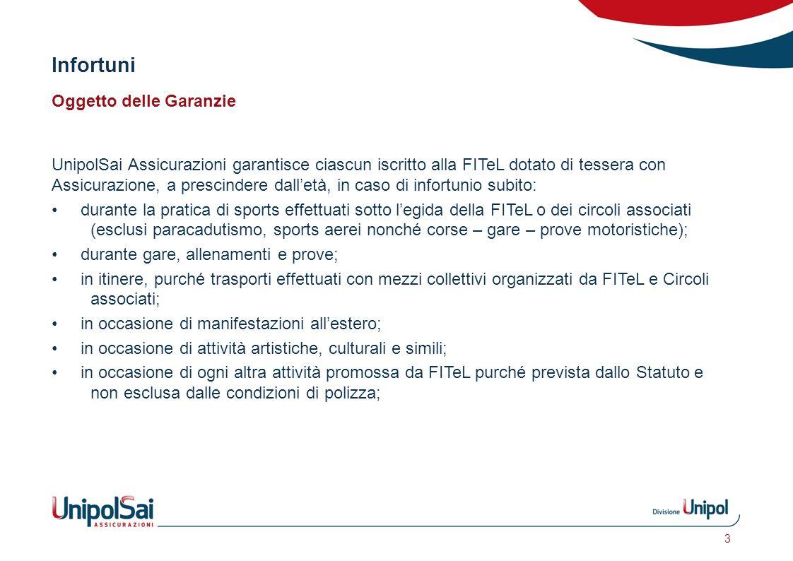 Infortuni Oggetto delle Garanzie UnipolSai Assicurazioni garantisce ciascun iscritto alla FITeL dotato di tessera con Assicurazione, a prescindere dal