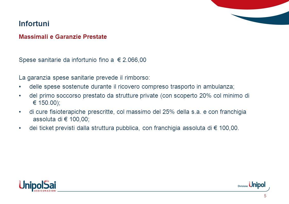 Infortuni Massimali e Garanzie Prestate Spese sanitarie da infortunio fino a € 2.066,00 La garanzia spese sanitarie prevede il rimborso: delle spese s