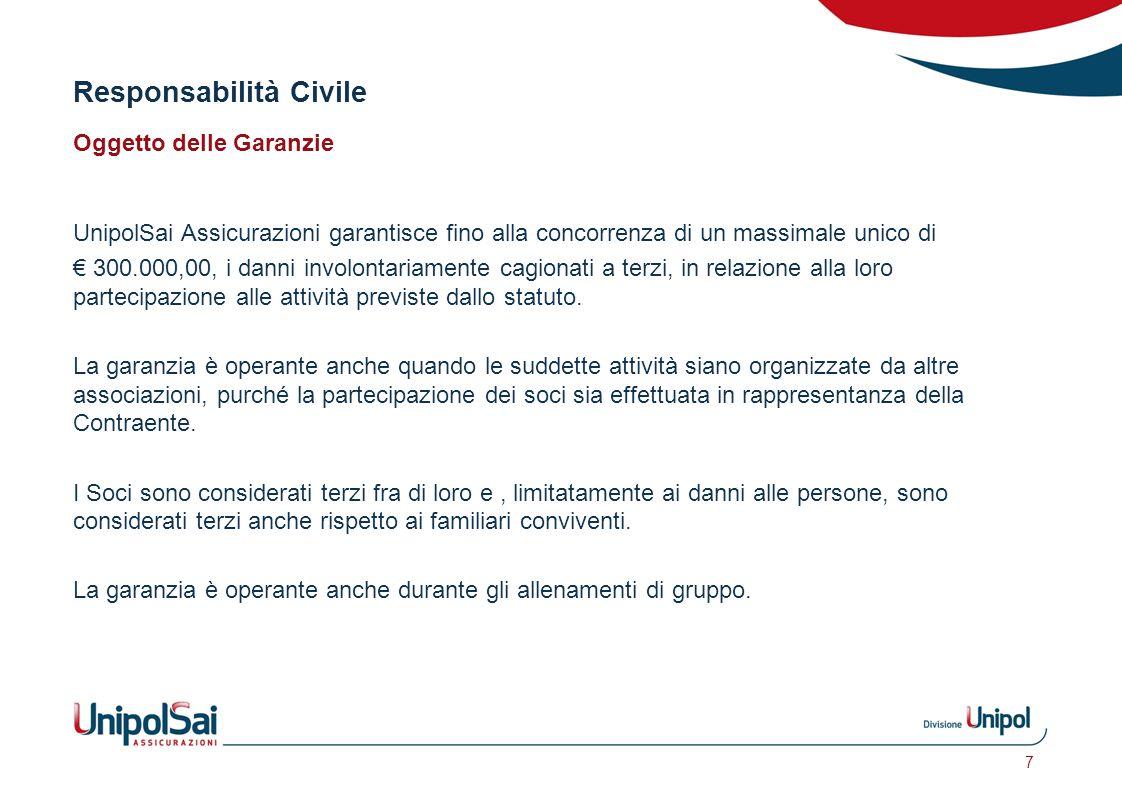 Responsabilità Civile Oggetto delle Garanzie UnipolSai Assicurazioni garantisce fino alla concorrenza di un massimale unico di € 300.000,00, i danni i