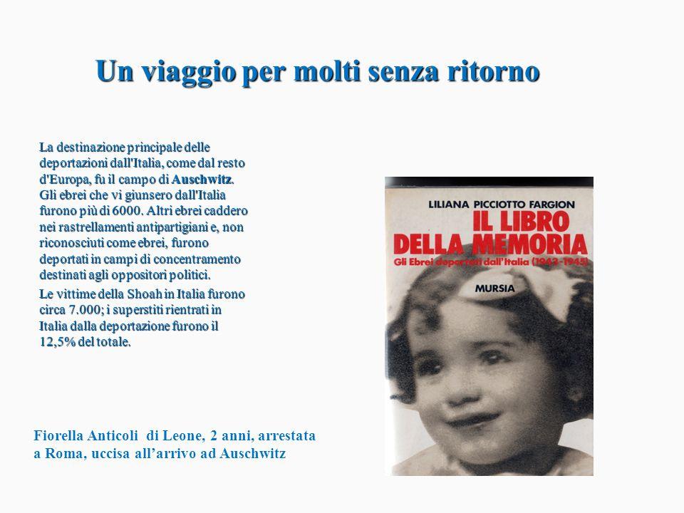 Un viaggio per molti senza ritorno Un viaggio per molti senza ritorno La destinazione principale delle deportazioni dall'Italia, come dal resto d'Euro
