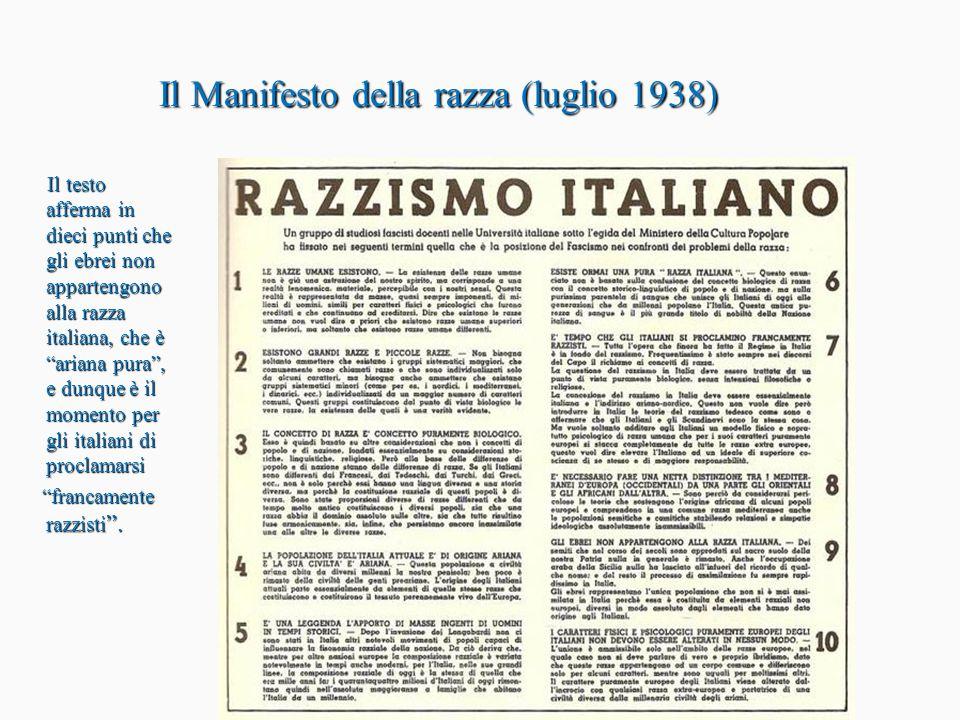 Il censimento dell'agosto 1938 Circa 50.000 italiani vengono classificati come ebrei.