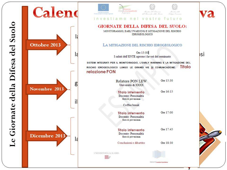 Gennaio 2014 la propagazione delle piene e delle colate di fango Febbraio 2014 la gestione dell'informazione nei sistemi di allertamento Marzo2013 l'identificazione delle aree vulnerabili la gestione dell'emergenza la modellazione delle piene fluviali Le Giornate della Difesa del Suolo