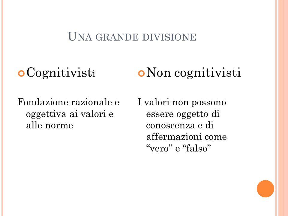 U NA GRANDE DIVISIONE Cognitivist i Fondazione razionale e oggettiva ai valori e alle norme Non cognitivisti I valori non possono essere oggetto di conoscenza e di affermazioni come vero e falso
