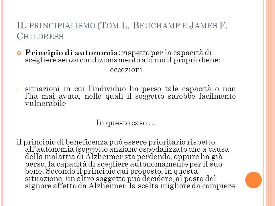 IL PRINCIPIALISMO (T OM L.B EUCHAMP E J AMES F.