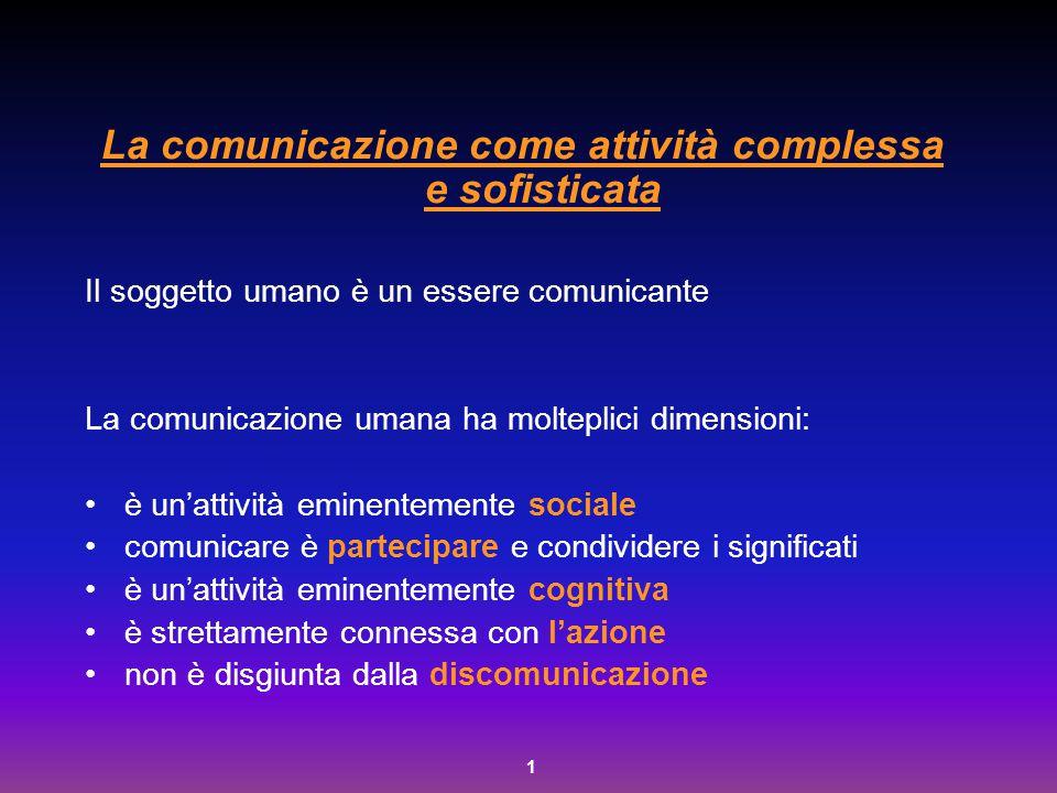 1 La comunicazione come attività complessa e sofisticata Il soggetto umano è un essere comunicante La comunicazione umana ha molteplici dimensioni: è