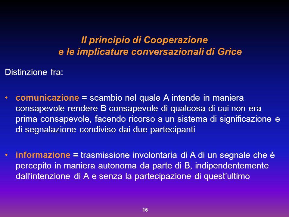 15 Il principio di Cooperazione e le implicature conversazionali di Grice Distinzione fra: comunicazione = scambio nel quale A intende in maniera cons