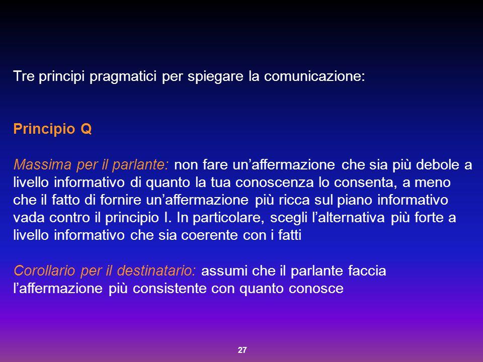 27 Tre principi pragmatici per spiegare la comunicazione: Principio Q Massima per il parlante: non fare un'affermazione che sia più debole a livello i