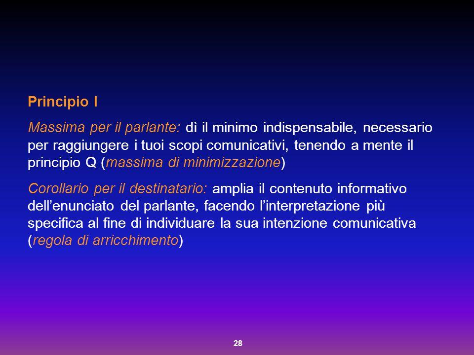 28 Principio I Massima per il parlante: dì il minimo indispensabile, necessario per raggiungere i tuoi scopi comunicativi, tenendo a mente il principi
