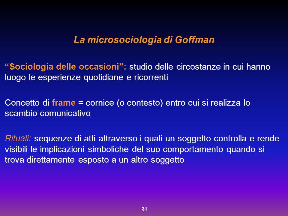 """31 La microsociologia di Goffman """"Sociologia delle occasioni"""": studio delle circostanze in cui hanno luogo le esperienze quotidiane e ricorrenti Conce"""