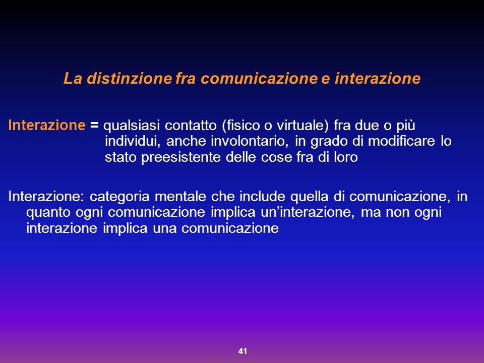 41 La distinzione fra comunicazione e interazione Interazione = qualsiasi contatto (fisico o virtuale) fra due o più individui, anche involontario, in