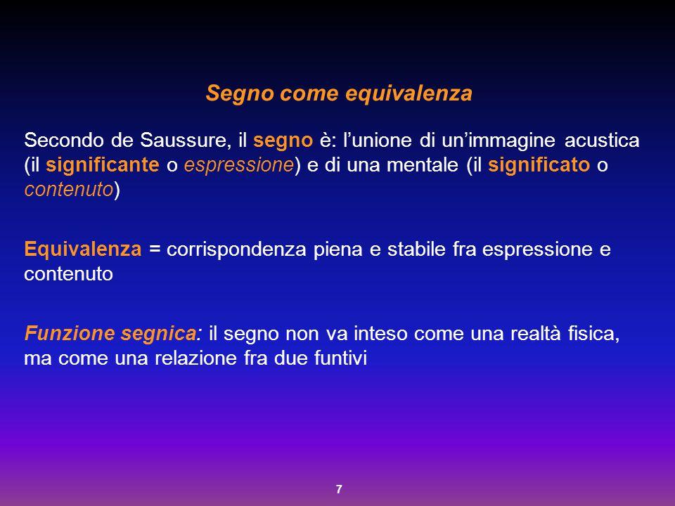 7 Segno come equivalenza Secondo de Saussure, il segno è: l'unione di un'immagine acustica (il significante o espressione) e di una mentale (il signif
