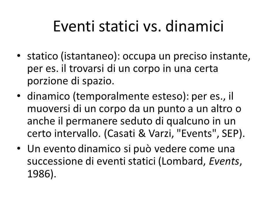 stati e cambiamenti Un cambiamento è un evento dinamico in cui negli eventi statici che lo costituiscono vi è l esemplificazione di proprietà diverse in tempi diversi da parte di uno stesso oggetto – Per es.