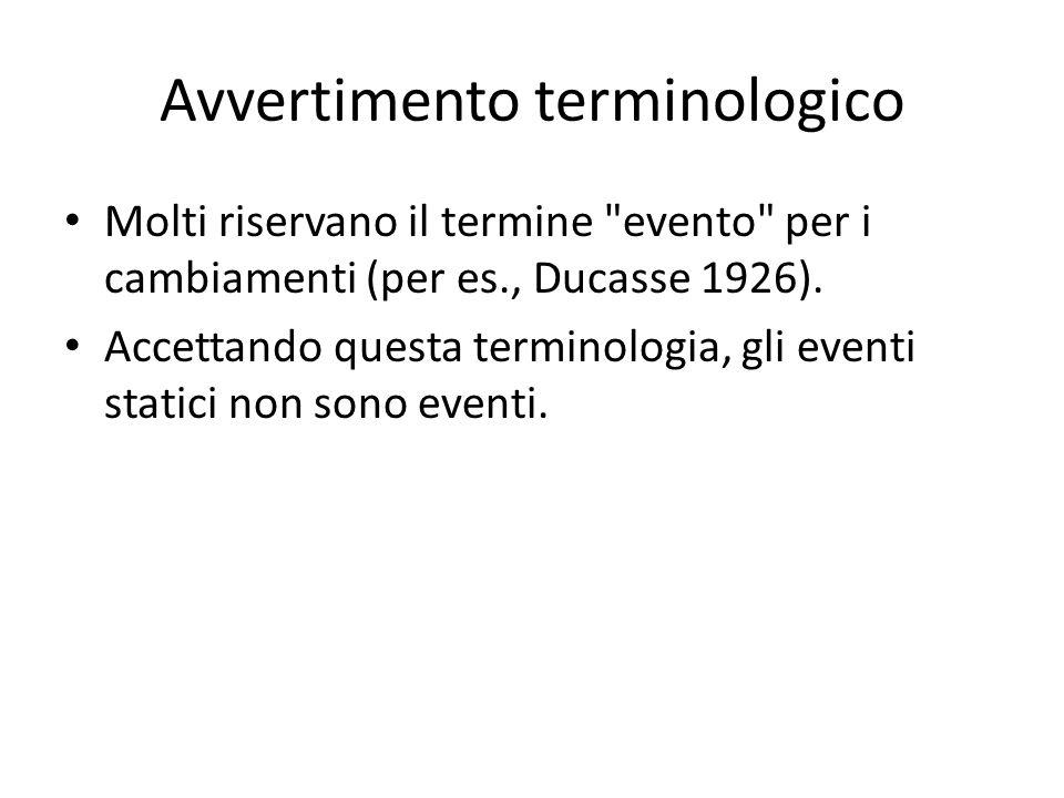 Avvertimento terminologico Molti riservano il termine evento per i cambiamenti (per es., Ducasse 1926).