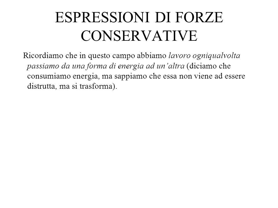 LE FORZE GRAVITAZIONALI Il campo conservativo per eccellenza è il campo gravitazionale.