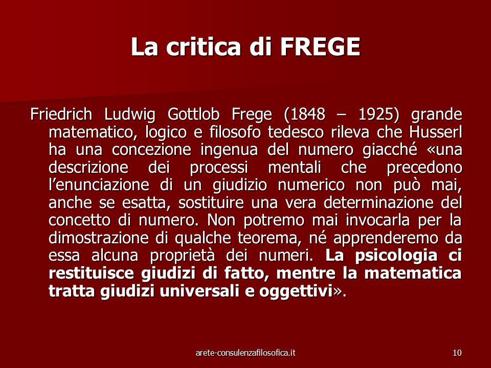 10 La critica di FREGE Friedrich Ludwig Gottlob Frege (1848 – 1925) grande matematico, logico e filosofo tedesco rileva che Husserl ha una concezione