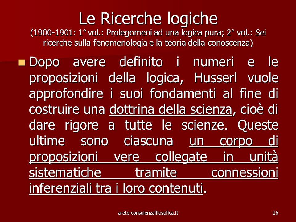 16 Le Ricerche logiche (1900-1901: 1° vol.: Prolegomeni ad una logica pura; 2° vol.: Sei ricerche sulla fenomenologia e la teoria della conoscenza) Do