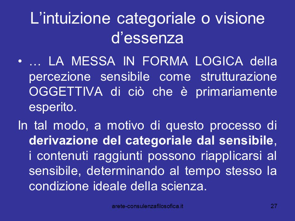 27 L'intuizione categoriale o visione d'essenza … LA MESSA IN FORMA LOGICA della percezione sensibile come strutturazione OGGETTIVA di ciò che è prima