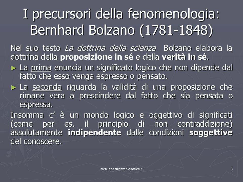 3 I precursori della fenomenologia: Bernhard Bolzano (1781-1848) Nel suo testo La dottrina della scienza Bolzano elabora la dottrina della e della ver