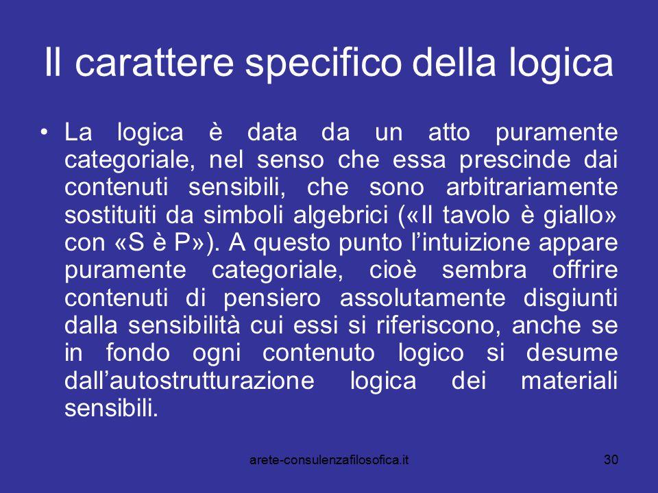 30 Il carattere specifico della logica La logica è data da un atto puramente categoriale, nel senso che essa prescinde dai contenuti sensibili, che so