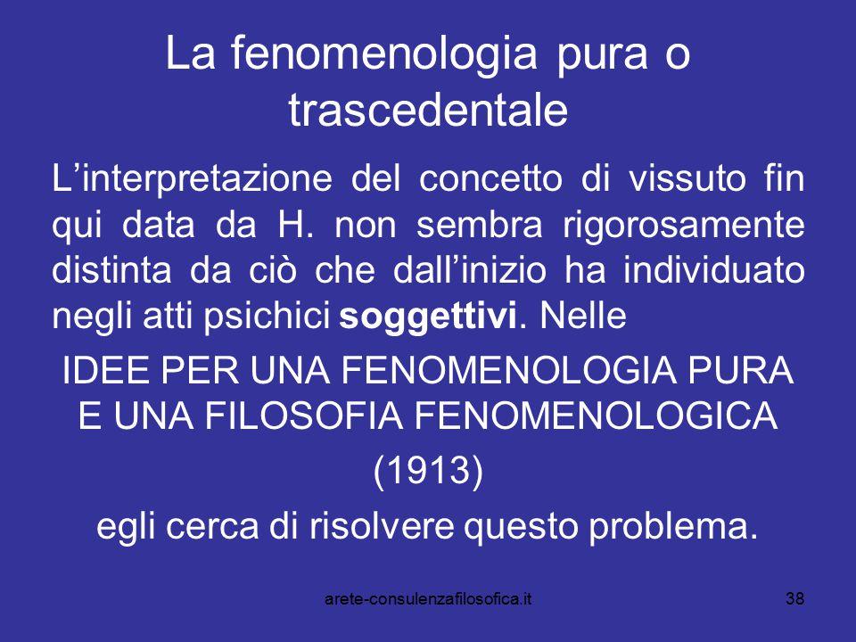 38 La fenomenologia pura o trascedentale L'interpretazione del concetto di vissuto fin qui data da H. non sembra rigorosamente distinta da ciò che dal