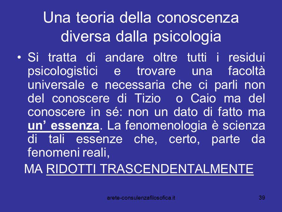 39 Una teoria della conoscenza diversa dalla psicologia Si tratta di andare oltre tutti i residui psicologistici e trovare una facoltà universale e ne