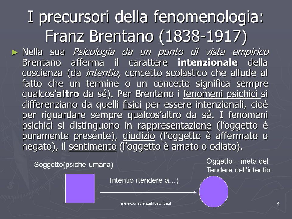 4 I precursori della fenomenologia: Franz Brentano (1838-1917) ► Nella sua Psicologia da un punto di vista empirico Brentano afferma il carattere inte