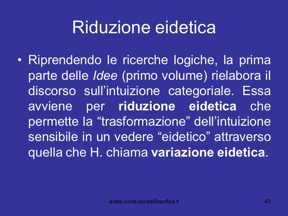 40 Riduzione eidetica Riprendendo le ricerche logiche, la prima parte delle Idee (primo volume) rielabora il discorso sull'intuizione categoriale. Ess