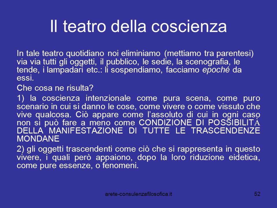 52 Il teatro della coscienza In tale teatro quotidiano noi eliminiamo (mettiamo tra parentesi) via via tutti gli oggetti, il pubblico, le sedie, la sc