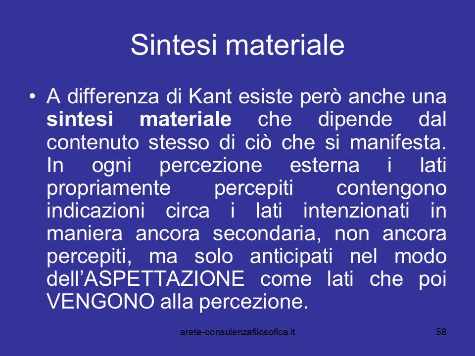 58 Sintesi materiale A differenza di Kant esiste però anche una sintesi materiale che dipende dal contenuto stesso di ciò che si manifesta. In ogni pe