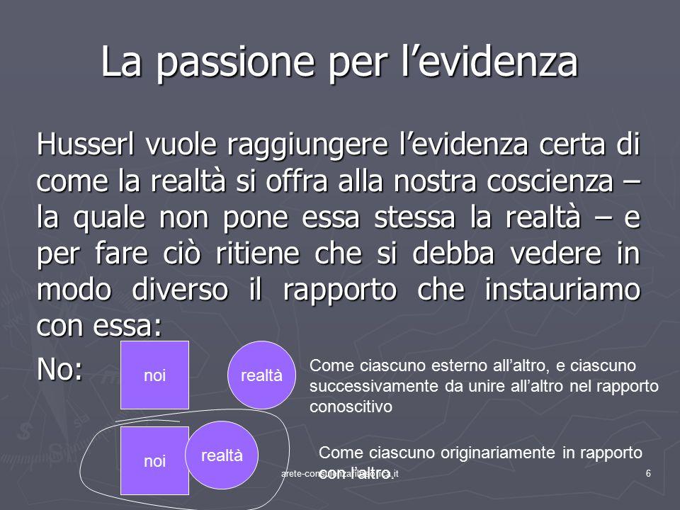 27 L'intuizione categoriale o visione d'essenza … LA MESSA IN FORMA LOGICA della percezione sensibile come strutturazione OGGETTIVA di ciò che è primariamente esperito.