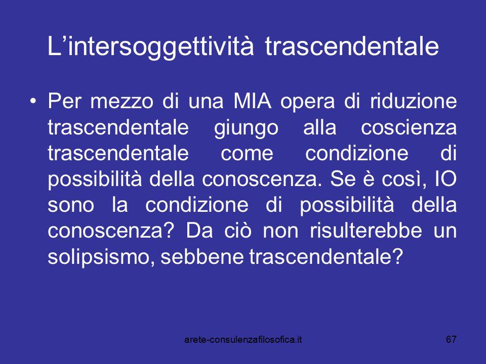 67 L'intersoggettività trascendentale Per mezzo di una MIA opera di riduzione trascendentale giungo alla coscienza trascendentale come condizione di p