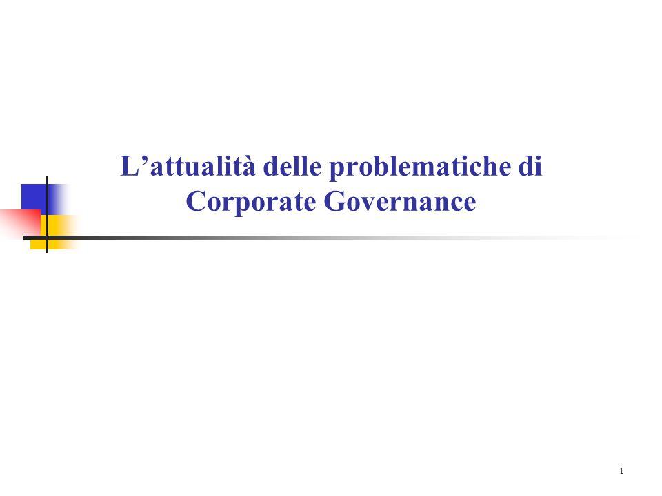 1 L'attualità delle problematiche di Corporate Governance