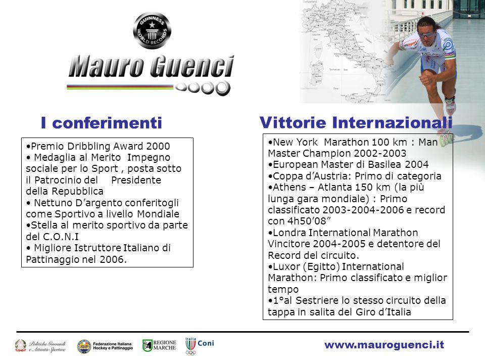 I conferimenti Premio Dribbling Award 2000 Medaglia al Merito Impegno sociale per lo Sport, posta sotto il Patrocinio del Presidente della Repubblica Nettuno D'argento conferitogli come Sportivo a livello Mondiale Stella al merito sportivo da parte del C.O.N.I Migliore Istruttore Italiano di Pattinaggio nel 2006.