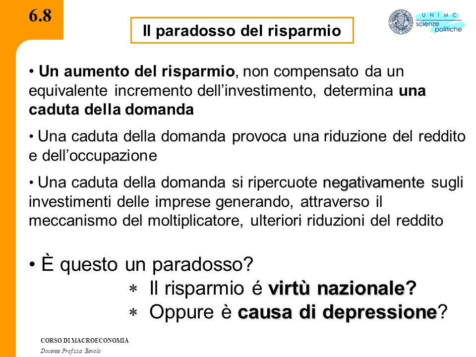 CORSO DI MACROECONOMIA Docente Prof.ssa Bevolo 6.8 Il paradosso del risparmio Un aumento del risparmio, non compensato da un equivalente incremento de