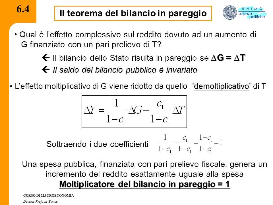 CORSO DI MACROECONOMIA Docente Prof.ssa Bevolo 6.4 Il teorema del bilancio in pareggio Qual è l'effetto complessivo sul reddito dovuto ad un aumento d