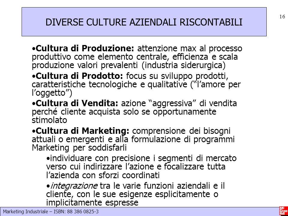 Marketing Industriale – ISBN: 88 386 0825-3 16 Cultura di Produzione: attenzione max al processo produttivo come elemento centrale, efficienza e scala