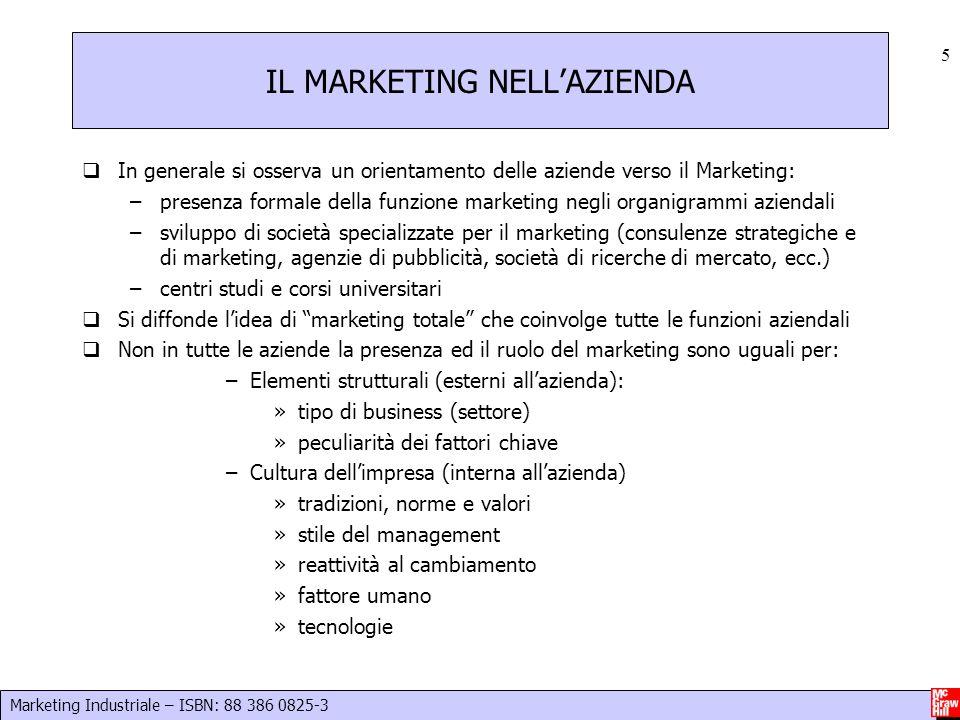Marketing Industriale – ISBN: 88 386 0825-3 5 IL MARKETING NELL'AZIENDA  In generale si osserva un orientamento delle aziende verso il Marketing: –pr